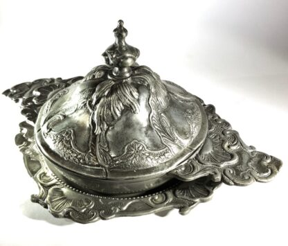 Polish pewter rococo form covered bowl & stand, c.1745-30929