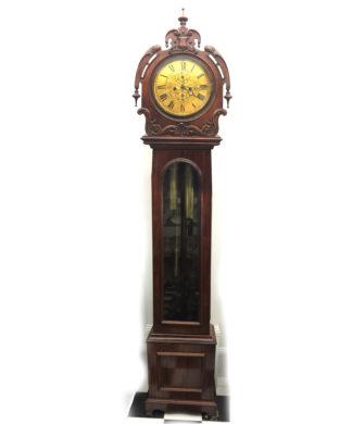 Scottish mahogany drumhead longcase 'Grandfather' clock, circa 1840-0