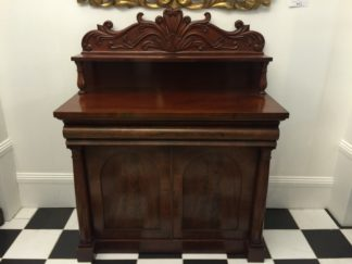 Regency mahogany chiffonier with nicely detailed scroll back, c. 1825-0