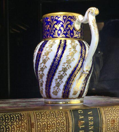 Flight Worcester jug, spiral fluted, rich blue & gilt, c. 1785-15413