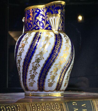 Flight Worcester jug, spiral fluted, rich blue & gilt, c. 1785-15414