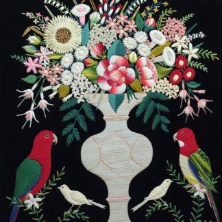 Australian woolwork, vase of flowers, Rosella & King Parrot, c.1880-0