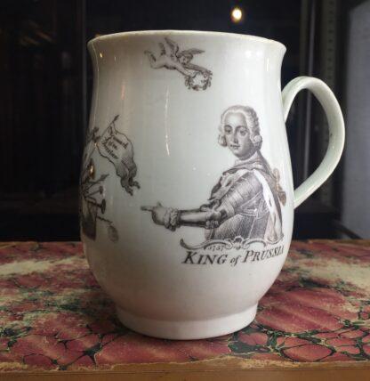 "Worcester bell shape mug, ""King of Prussia"" print, c. 1757-0"