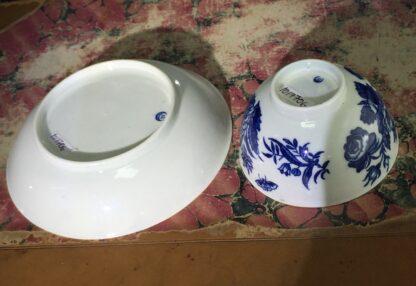 Worcester teabowl & saucer, 'Three Flowers' pattern, rare 'E' mark, c. 1775-15663