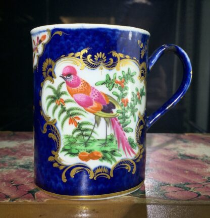 Small Worcester scale blue mug with birds, c. 1770-15767
