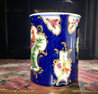 Small Worcester scale blue mug with birds, c. 1770-15768