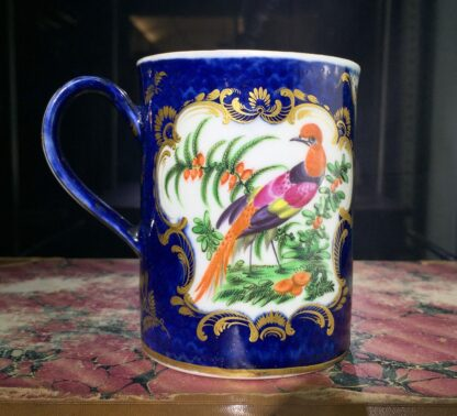 Small Worcester scale blue mug with birds, c. 1770-0