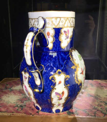 Worcester mask jug with scale blue ground, exotic birds, c. 1775-15777