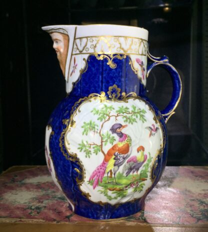 Worcester mask jug with scale blue ground, exotic birds, c. 1775-15780