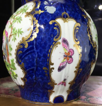 Worcester mask jug with scale blue ground, exotic birds, c. 1775-15784