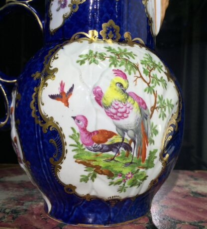 Worcester mask jug with scale blue ground, exotic birds, c. 1775-15785
