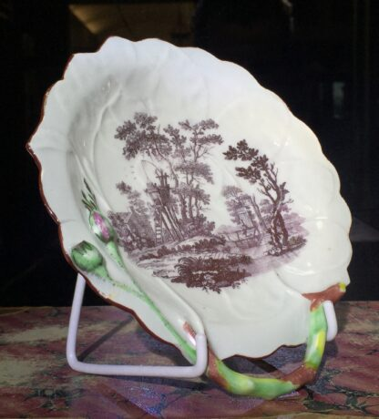 Worcester 'Blind Earl' dish with rare print 'Bird Catcher', c.1765 -15820