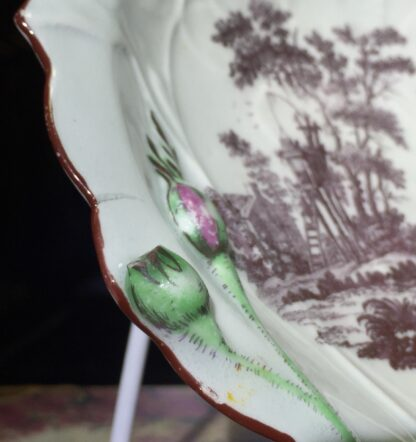 Worcester 'Blind Earl' dish with rare print 'Bird Catcher', c.1765 -15821