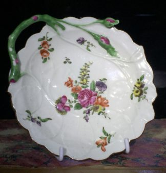 Worcester 'Blind Earl' dish, flower sprays, c.1765-0