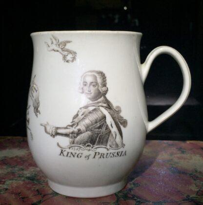 "Worcester bell shape mug, ""King of Prussia"" print, c. 1757-15870"
