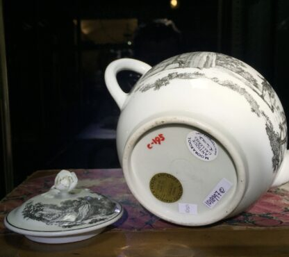 Worcester teapot printed with 'Maid and Page' pattern, c. 1760-15873