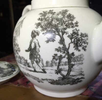 Worcester teapot printed with 'Maid and Page' pattern, c. 1760-15876