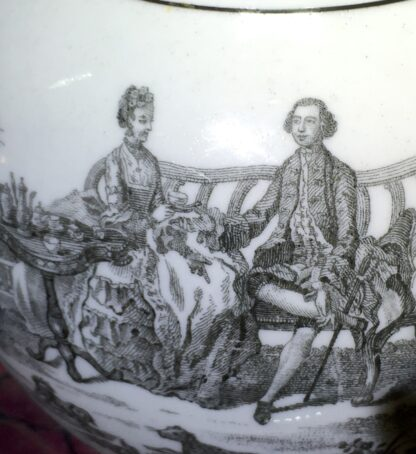 Worcester teapot printed with 'Maid and Page' pattern, c. 1760-15879