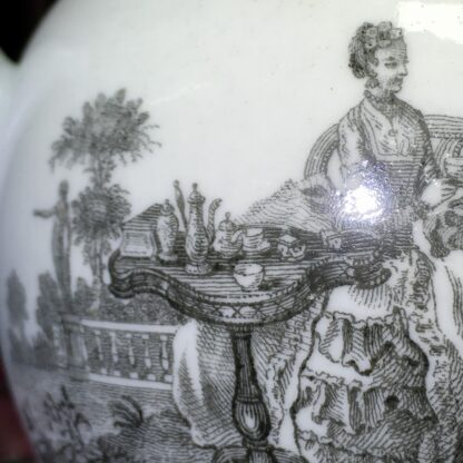 Worcester teapot printed with 'Maid and Page' pattern, c. 1760-15880