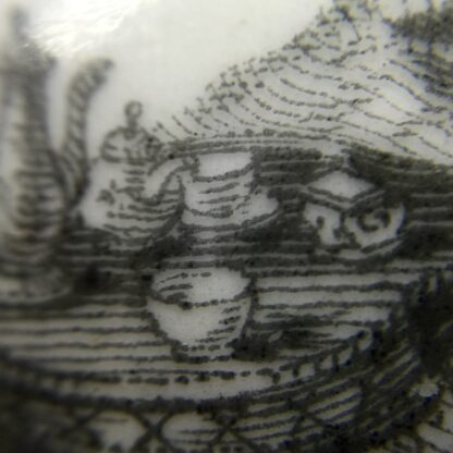 Worcester teapot printed with 'Maid and Page' pattern, c. 1760-15882