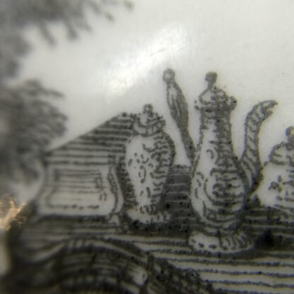 Worcester teapot printed with 'Maid and Page' pattern, c. 1760-15886