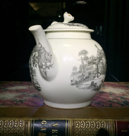 Worcester teapot printed with 'Maid and Page' pattern, c. 1760-15897