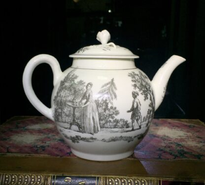 Worcester teapot printed with 'Maid and Page' pattern, c. 1760-15898