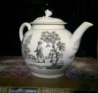 Worcester teapot printed with 'Maid and Page' pattern, c. 1760-15899