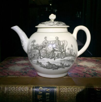 Worcester teapot printed with 'Maid and Page' pattern, c. 1760-0
