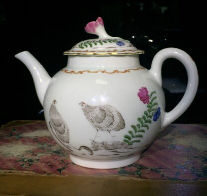 Worcester teapot with 'Pencilled Quail' pattern, c. 1778-15903