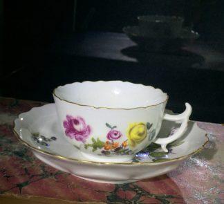Meissen flowerhead form cup & saucer, deutschblumen flowers, c. 1745-0