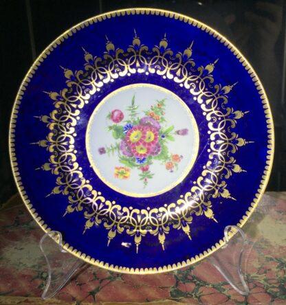 Chamberlain Worcester small plate, mazarine blue & flowers, c. 1820-15974