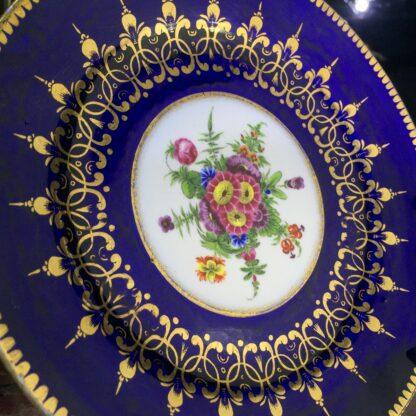 Chamberlain Worcester small plate, mazarine blue & flowers, c. 1820-15976
