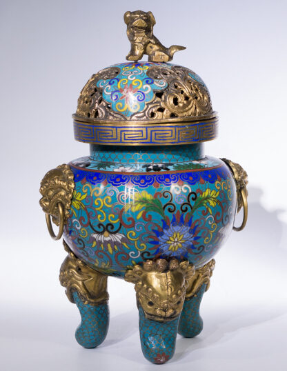 Chinese cloisonné censor, mask handles, foo dog finial, 19th century -16001
