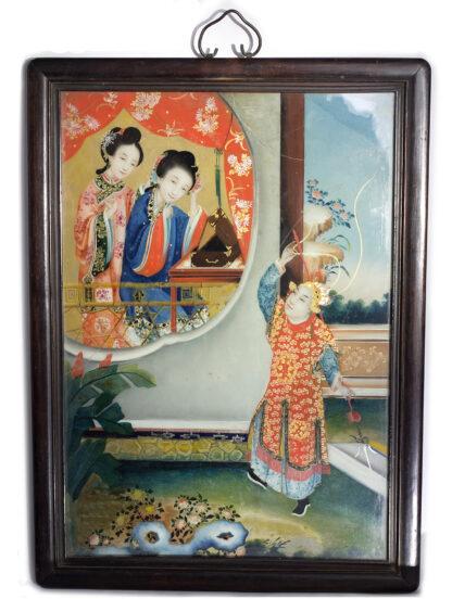 Chinese glass painting, youthful beauty, 19th century-0