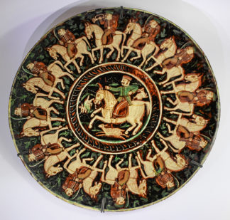 Wonderland Art Pottery charger, George Terry, Bombay c.1885-0