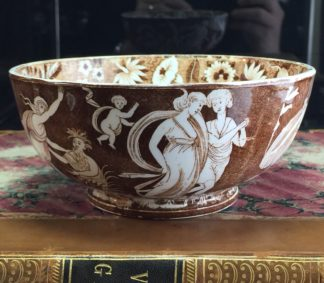 Copeland classical bowl 'Love Chase' pattern in brown, c.1850-0