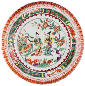 Derby famille verte dish with gadrooned rim, figures in a garden, c.1800-0