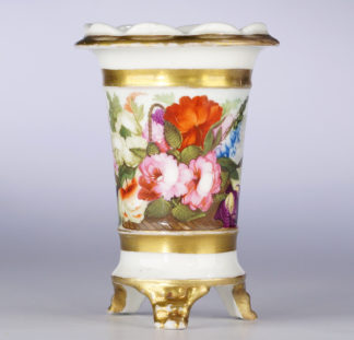 Swansea spill vase, flowers & figures by Henry Morris, c.1820-0