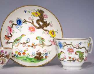 Swansea cup & saucer, Parakeets in a Tree pattern, c.1815-0