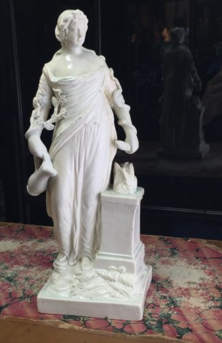 Creamware figure, Lady by an altar, c. 1790-0