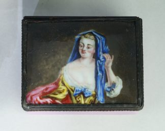 English enamel snuff box with well painted portrait, c. 1770-0