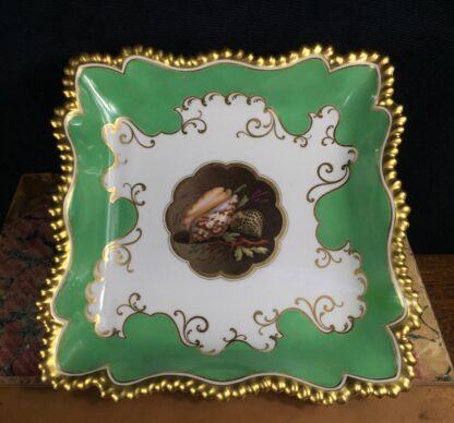 Flight Barr & Barr Worcester square dish, Shell panel, c. 1815-0