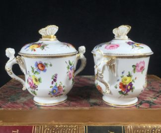 Pair of Spode covered cups, flowers & butterfly knops, c. 1825-0