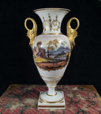 Swansea vase with dolphin handles & scene, c. 1815-0