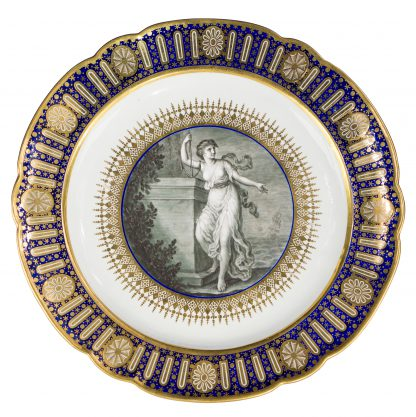 The Hope Service plate: Flight Worcester, painted by Pennington, c.1790-0