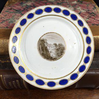 Rare Pinxton plate, monotone scene, c. 1800-0