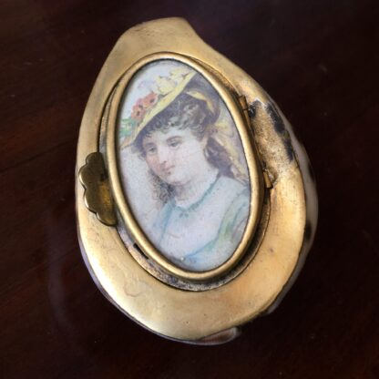 Tiger Cowrie Shell snuffbox with brass mounts & picture frame, 19th century-19187