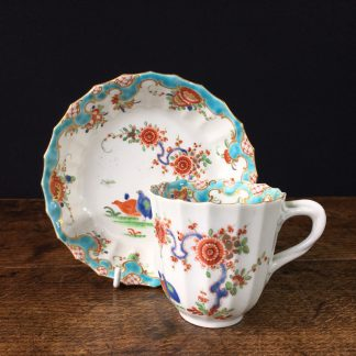 Worcester fluted coffee cup & saucer, 'Quail' pattern, unusual rococo border c.1775-0
