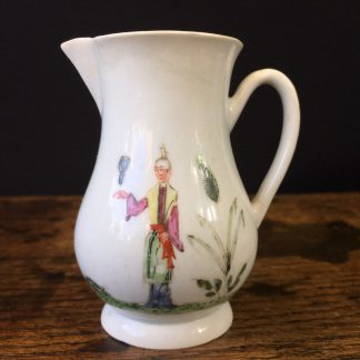 Early Worcester sparrowbeak jug, 'snake in a basket' pattern, c.1754-55-0